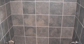 Dark Slate Shower Bathroom Remodel