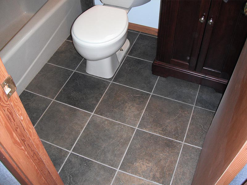 Dark Slate Flooring Bathroom Remodel